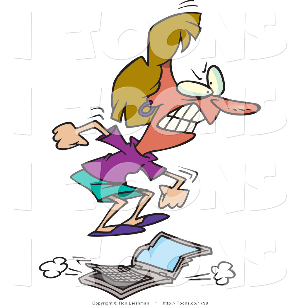 Vector Clip Art of a Flustered and Flushed Woman Jumping on a.