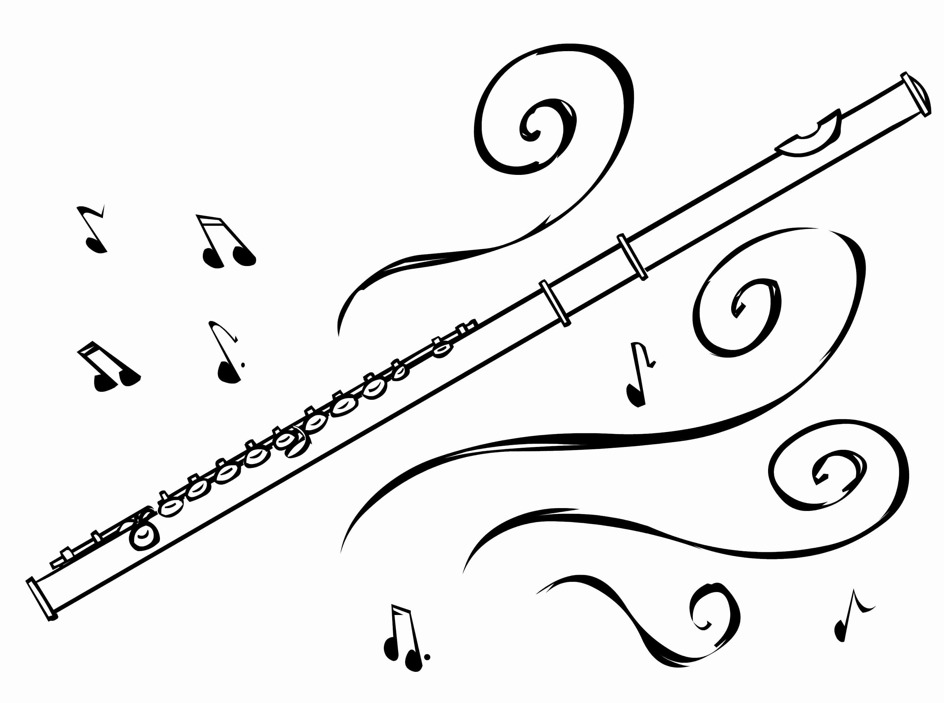 Flute Clipart Drawn Pencil And In Color With Black White.