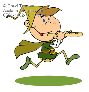 Clipart Illustration of a Pied Piper Boy Running and Playing His.