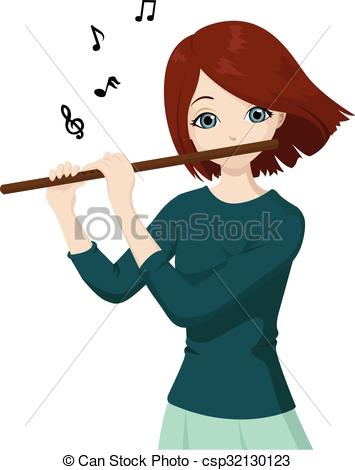 Playing flute Clipart Vector and Illustration. 820 Playing flute.