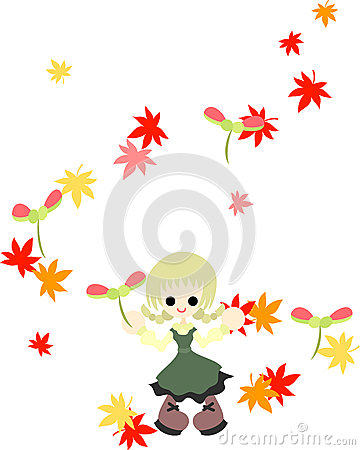 Little Girl Yellow Maple Leaves Stock Illustrations.