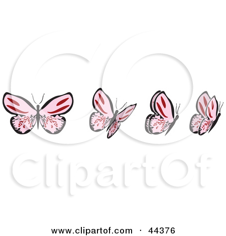 Clipart Illustration of a Fluttering Pink Butterfly Going Right by.