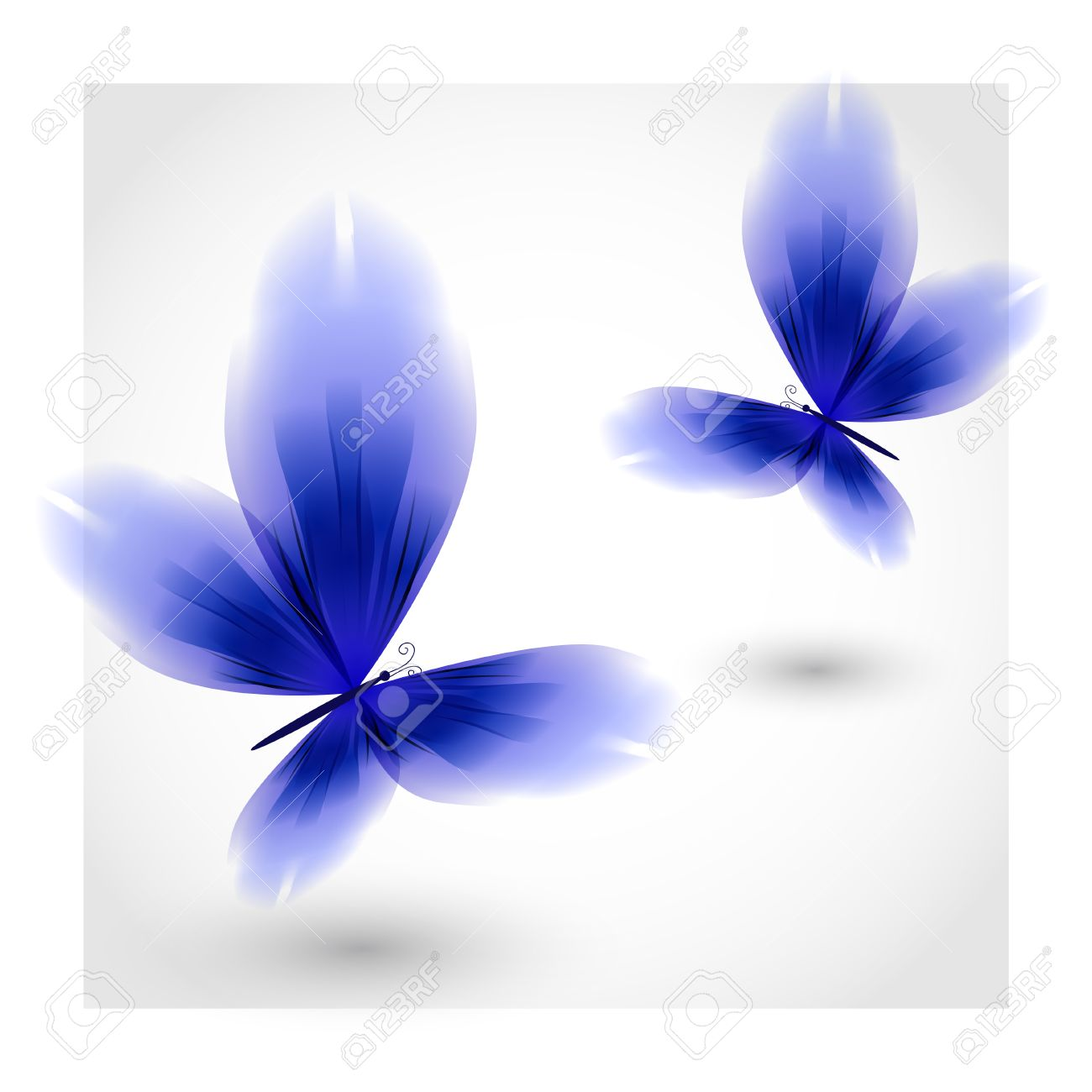 Dark Blue Butterflies Fluttering Air Royalty Free Cliparts.