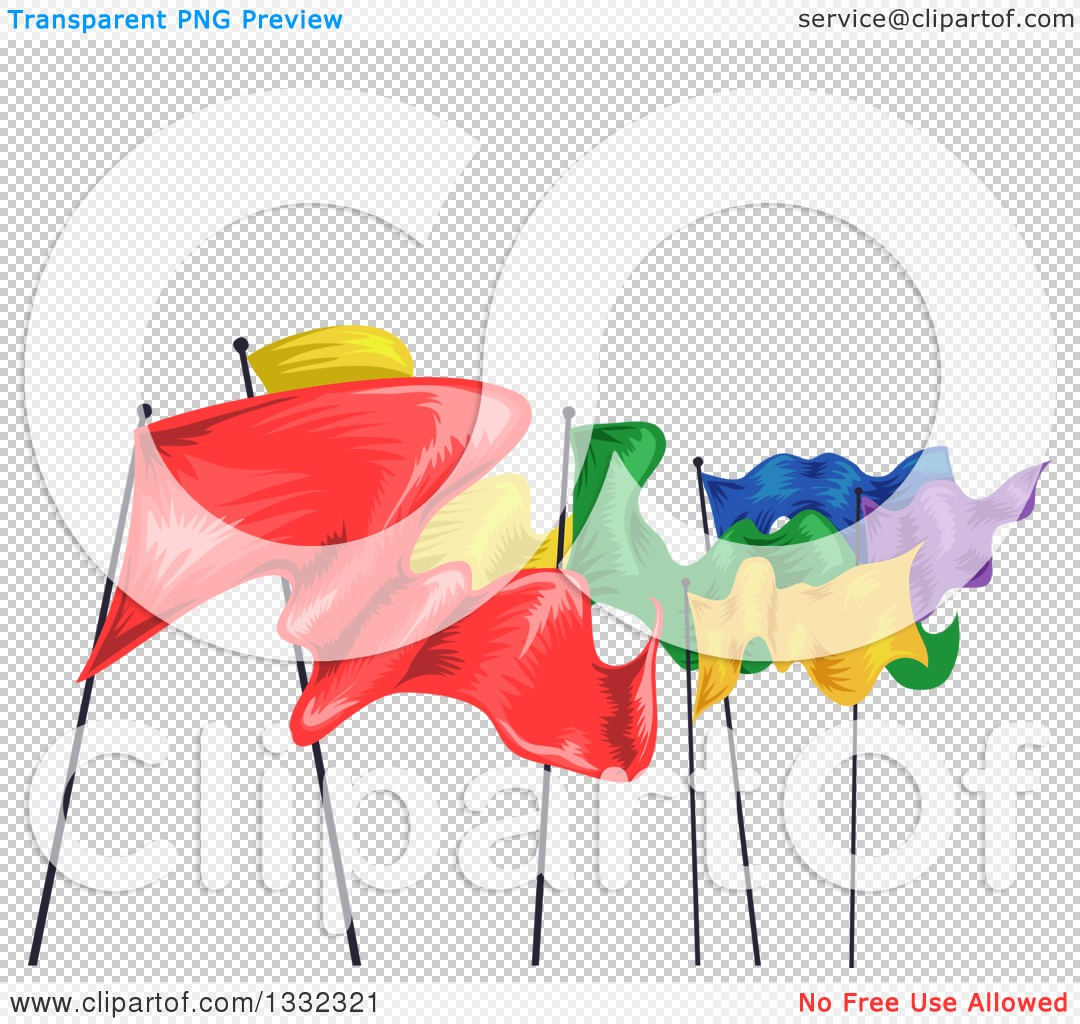 Clipart of a Row of Colorful Fluttering Flags.