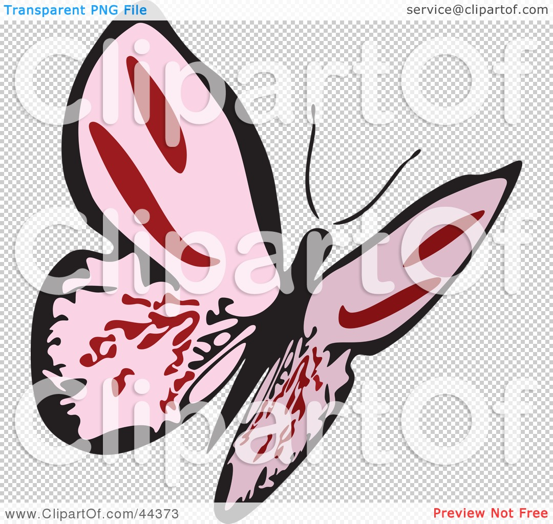 Clipart Illustration of a Fluttering Pink Butterfly Flying Up And.