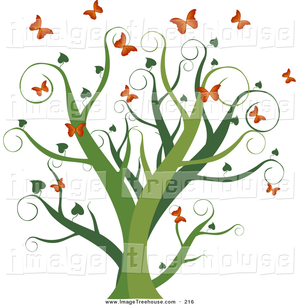 Clipart of a Curly Green Growing Tree with Heart Leaves.