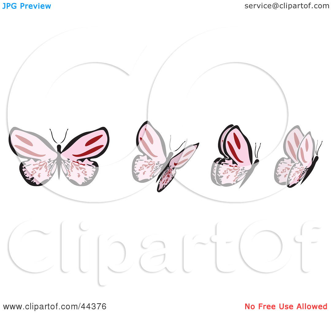 Clipart Illustration of a Fluttering Pink Butterfly In Motion by.
