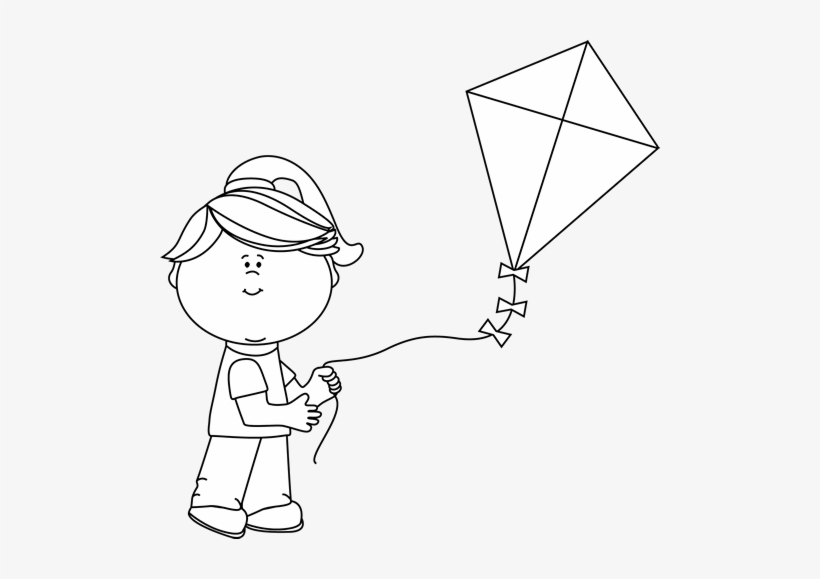 Black And White Girl Flying A Kite Clip Art.