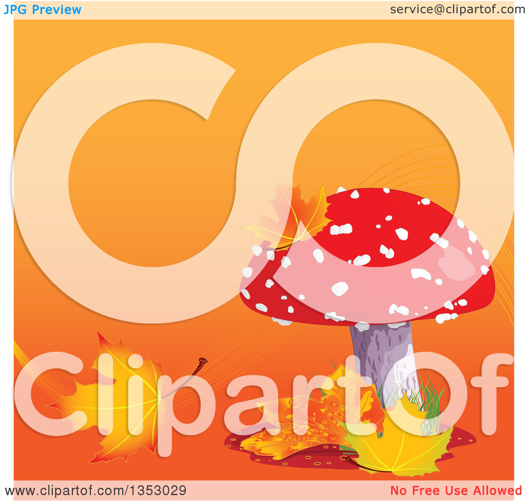 Clipart of a Fly Agaric Mushroom with Autumn Leaves over Gradient.