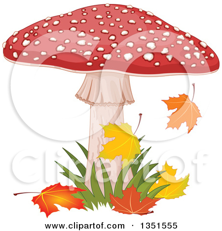 Clipart Fly Agaric Mushroom And Grass.