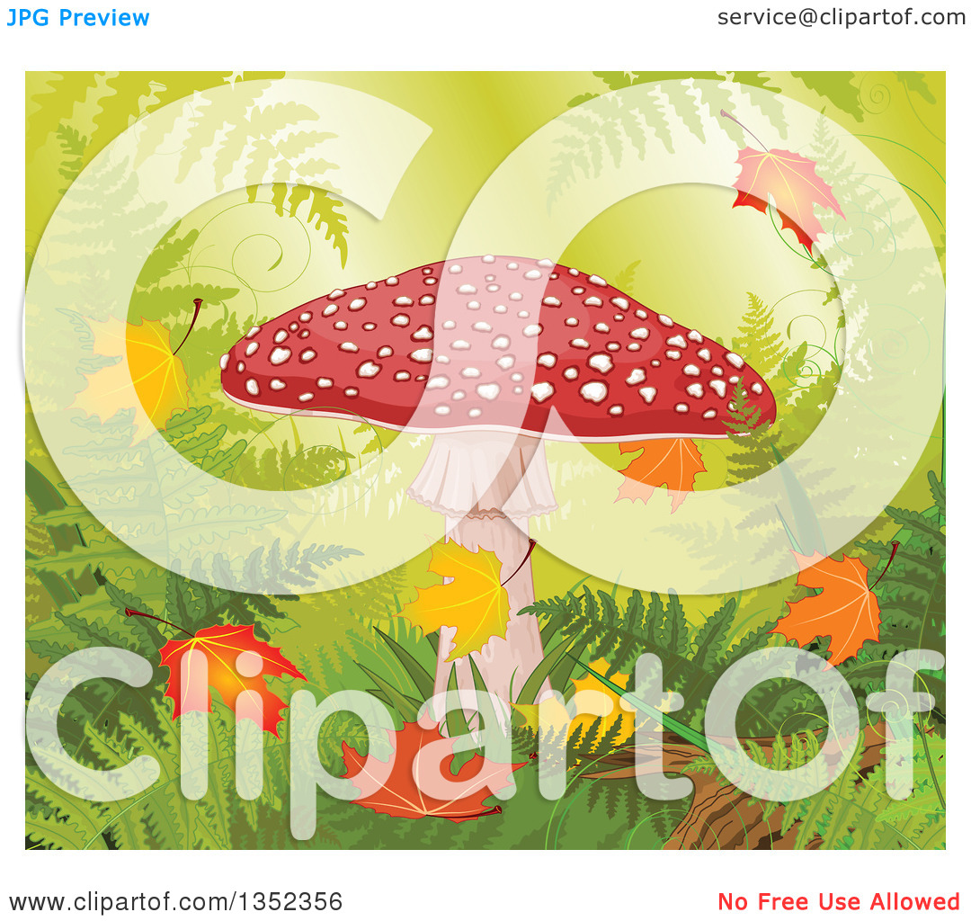 Clipart of a Fly Agaric Mushroom with Autumn Leaves in a Forest.