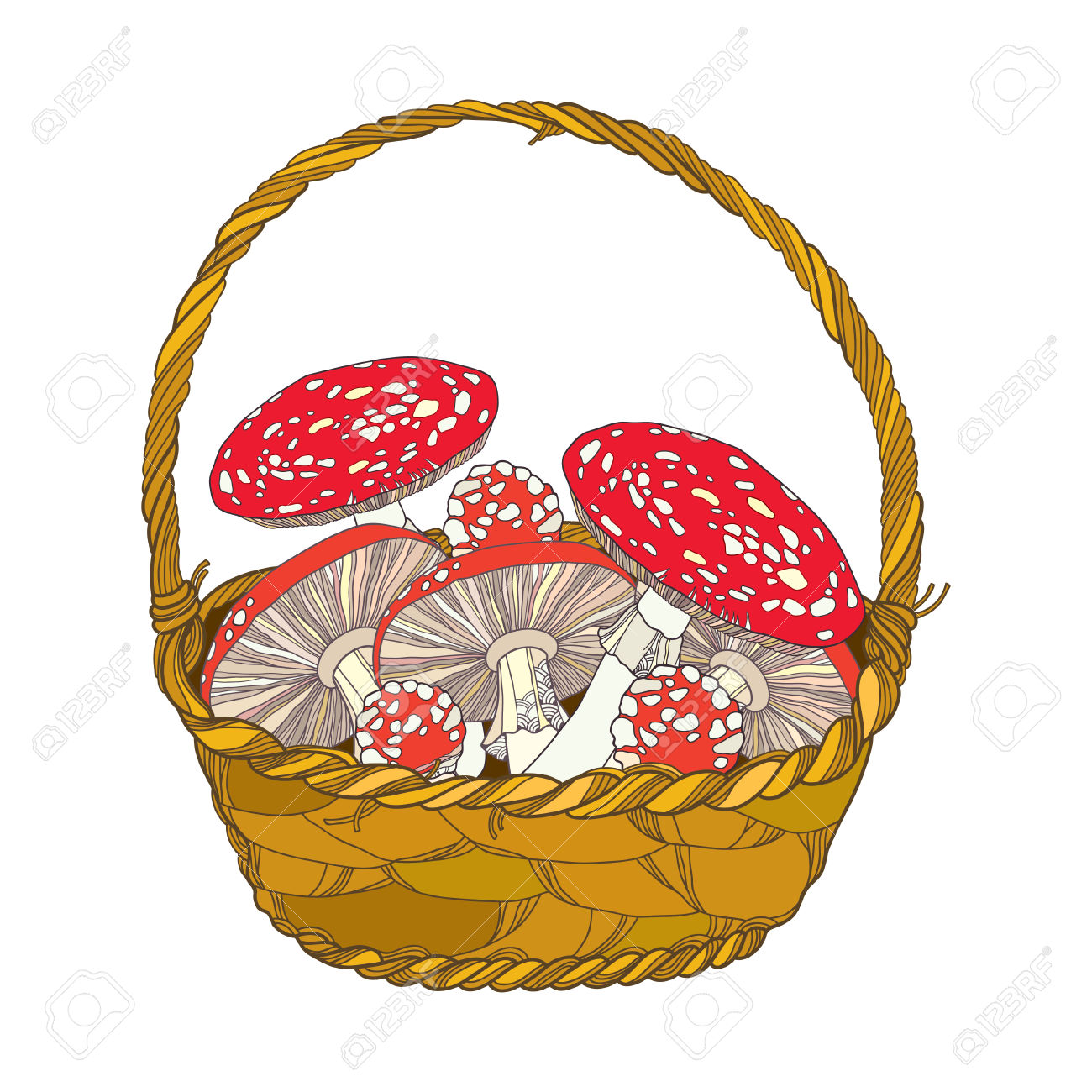 Wicker Basket With Amanita Or Fly Agaric Mushroom Isolated On.