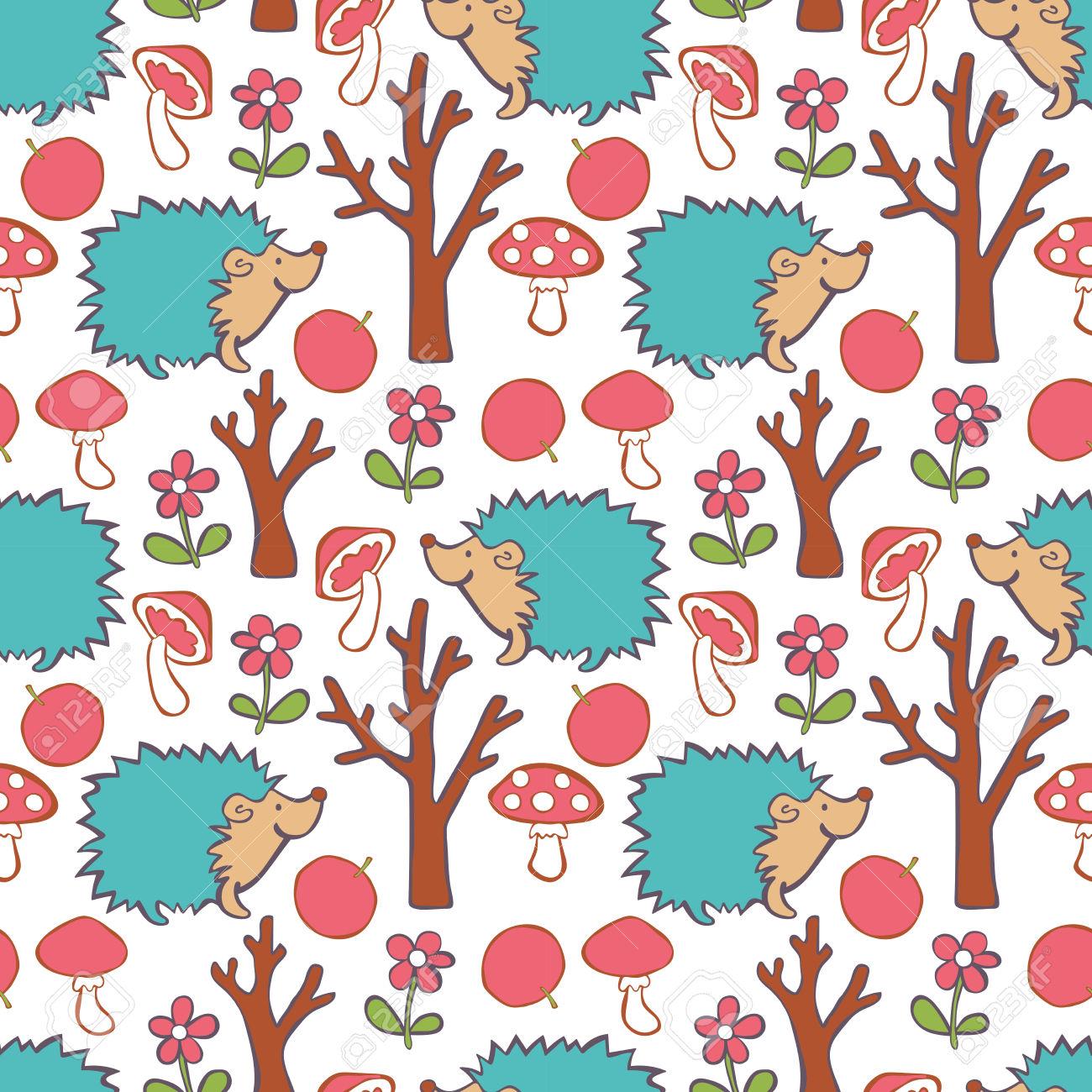Hedgehog, Red Apple, Flower, Tree, Mushroom.