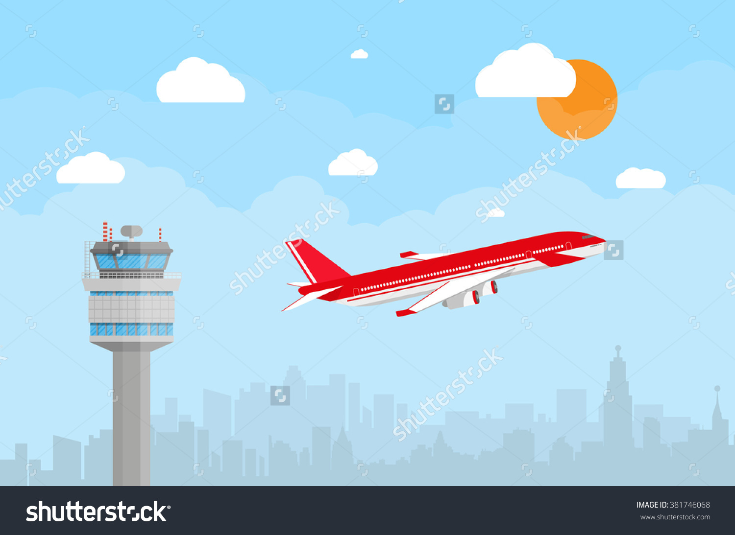 Cartoon Background Gray Airport Control Tower Stock Vector.