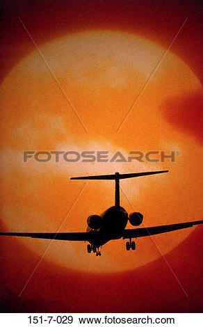 Stock Photograph of Aviation, Silhouette, Jet, Fly, Sun, Airport.