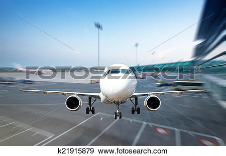 Stock Photograph of passenger plane fly up over take.