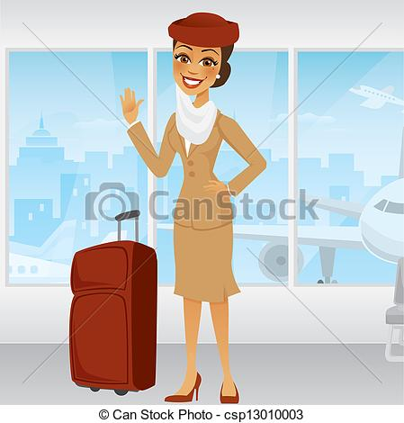 Vector Clipart of Cartoon Middle Eastern Flight Attendant waving.