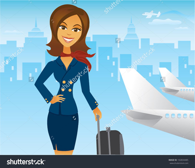 Cartoon Pretty Femal Flight Attendant Airport Stock Vector.