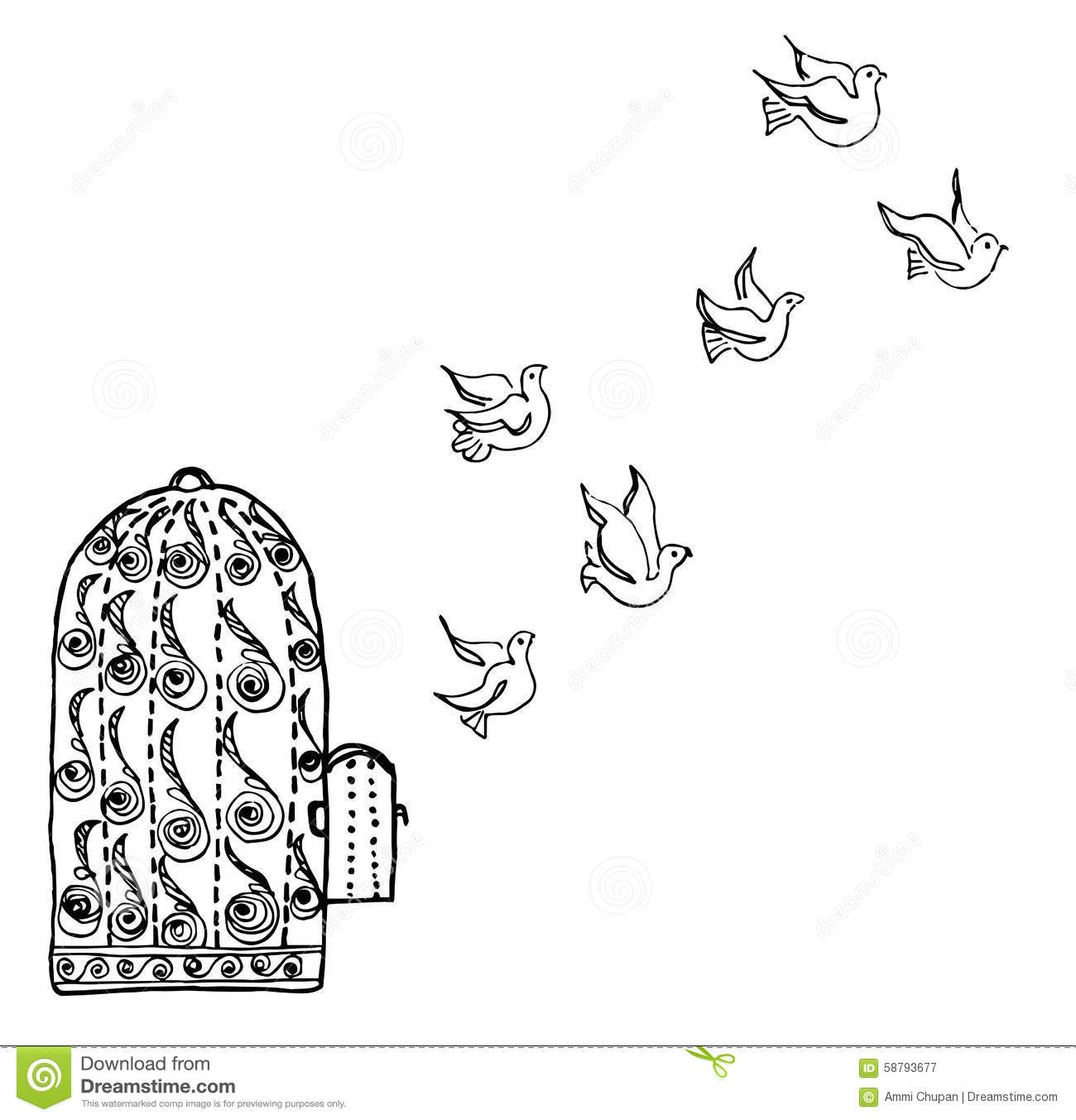 Birds Fly Away From Bird Cage Stock Vector.