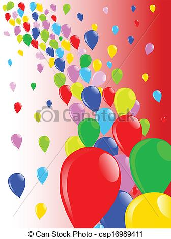 Vector Clip Art of Fly Away Balloons.