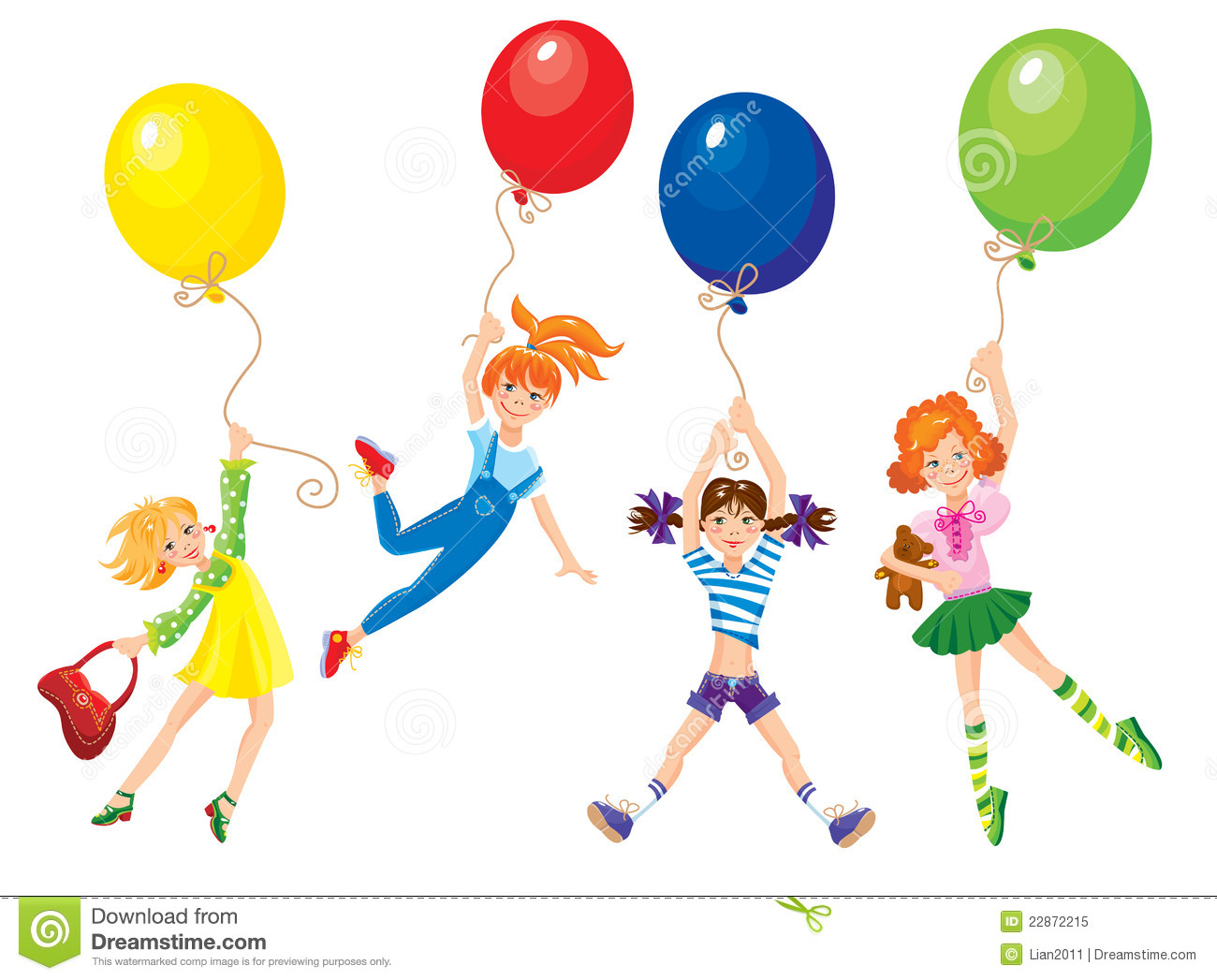 Cute Girl Fly Away On The Balloons Stock Photos.