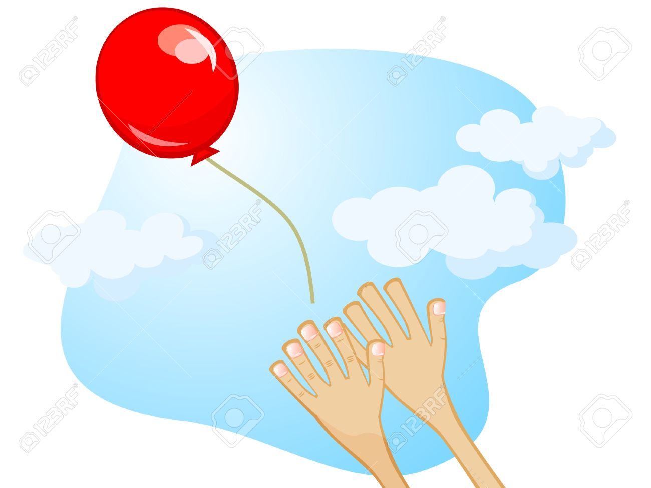 Balloon Flies Away From His Hands. Vector Cartoon Drawing. Royalty.