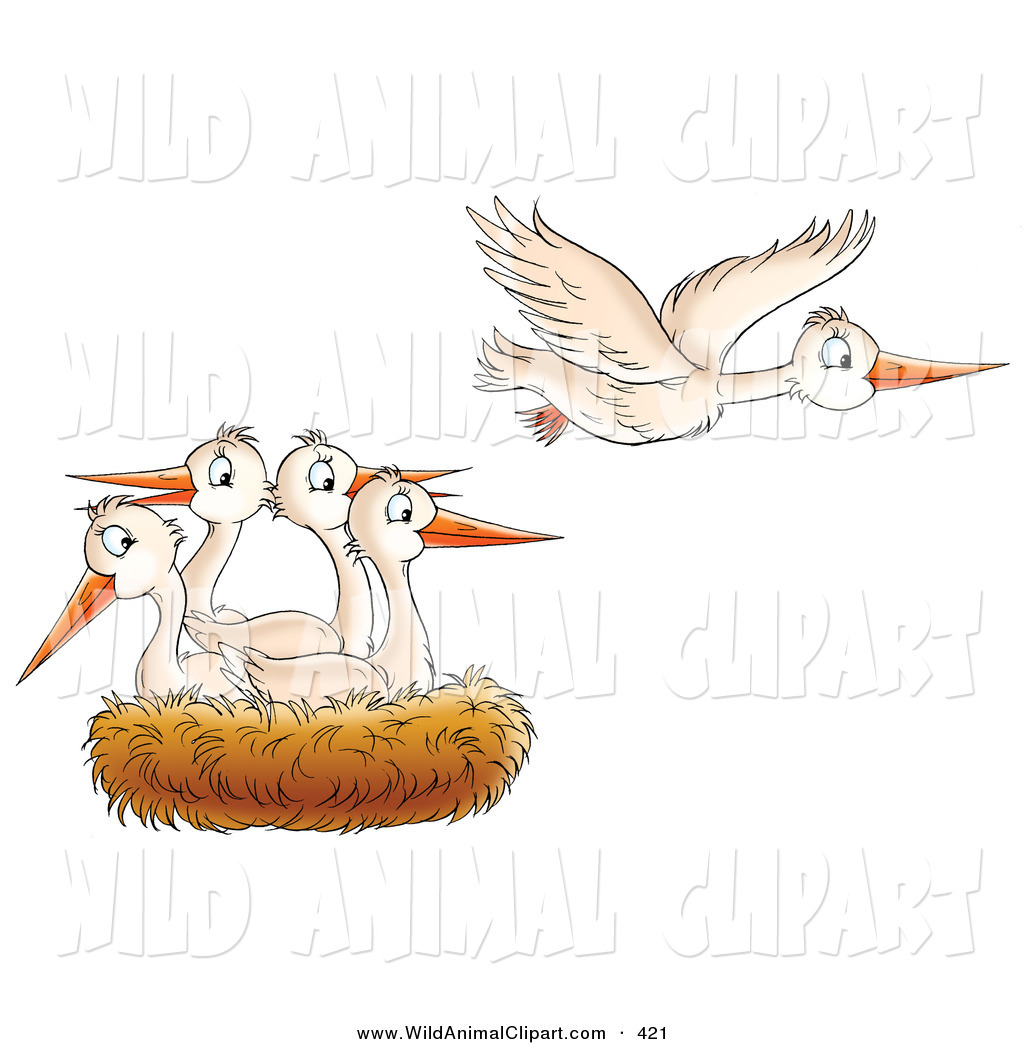 Clip Art of a White Bird Flying Away from a Nest of Baby Birds, in.