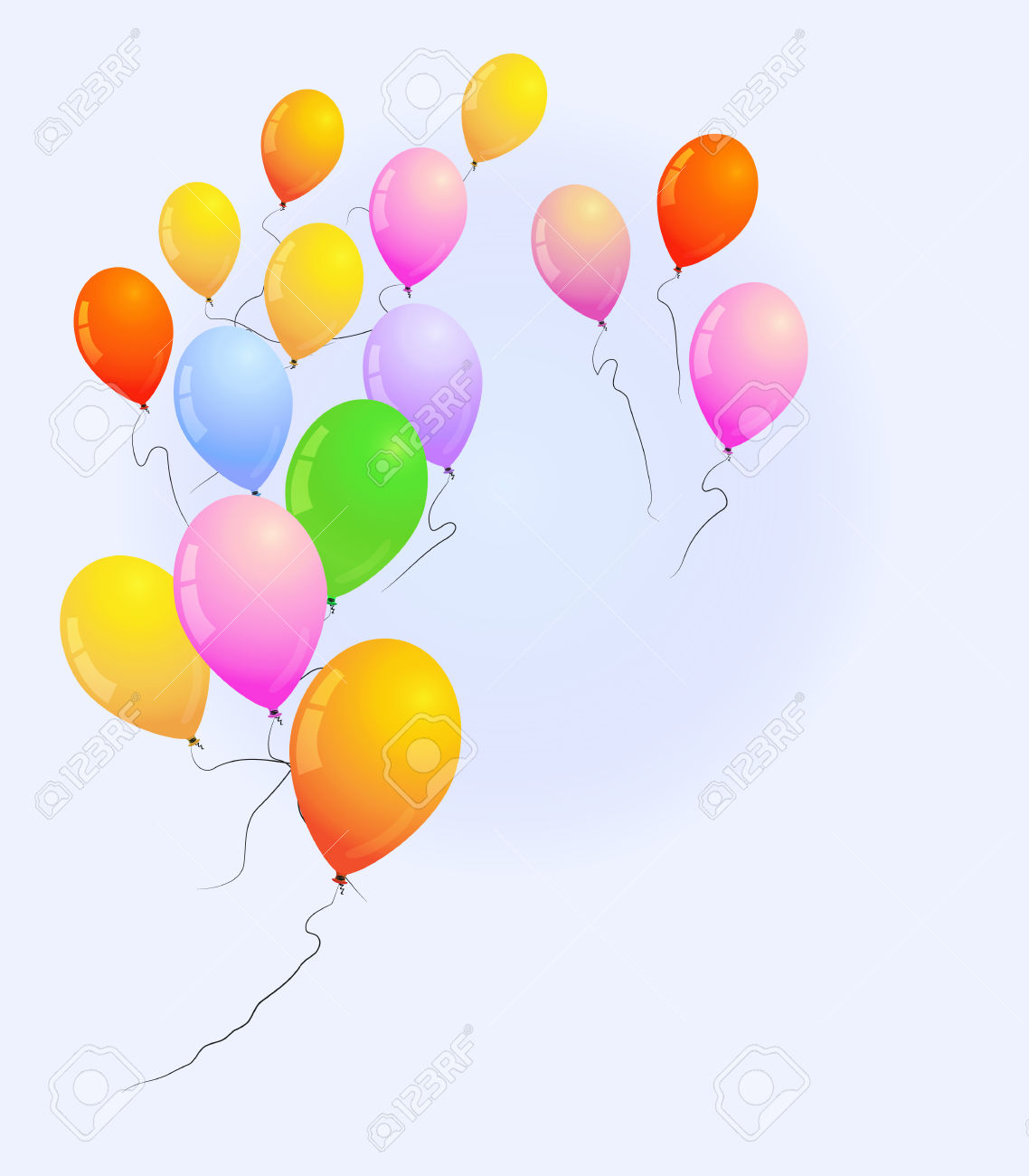 Color Balloons Fly Away To The Blue Sky Royalty Free Cliparts.