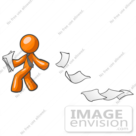 Clip Art Graphic of an Orange Guy Character Looking Back As Papers.