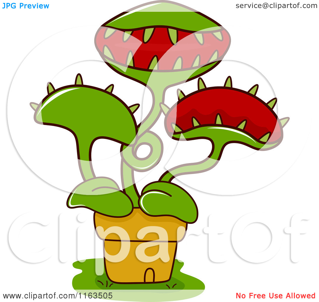 Cartoon of a Potted Venus Fly Trap Plant.