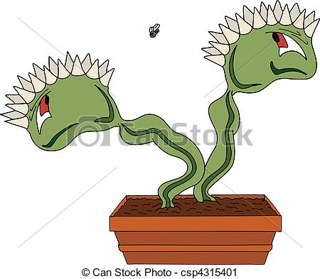 Vector Illustration of cartoon venus fly trap csp15526520.