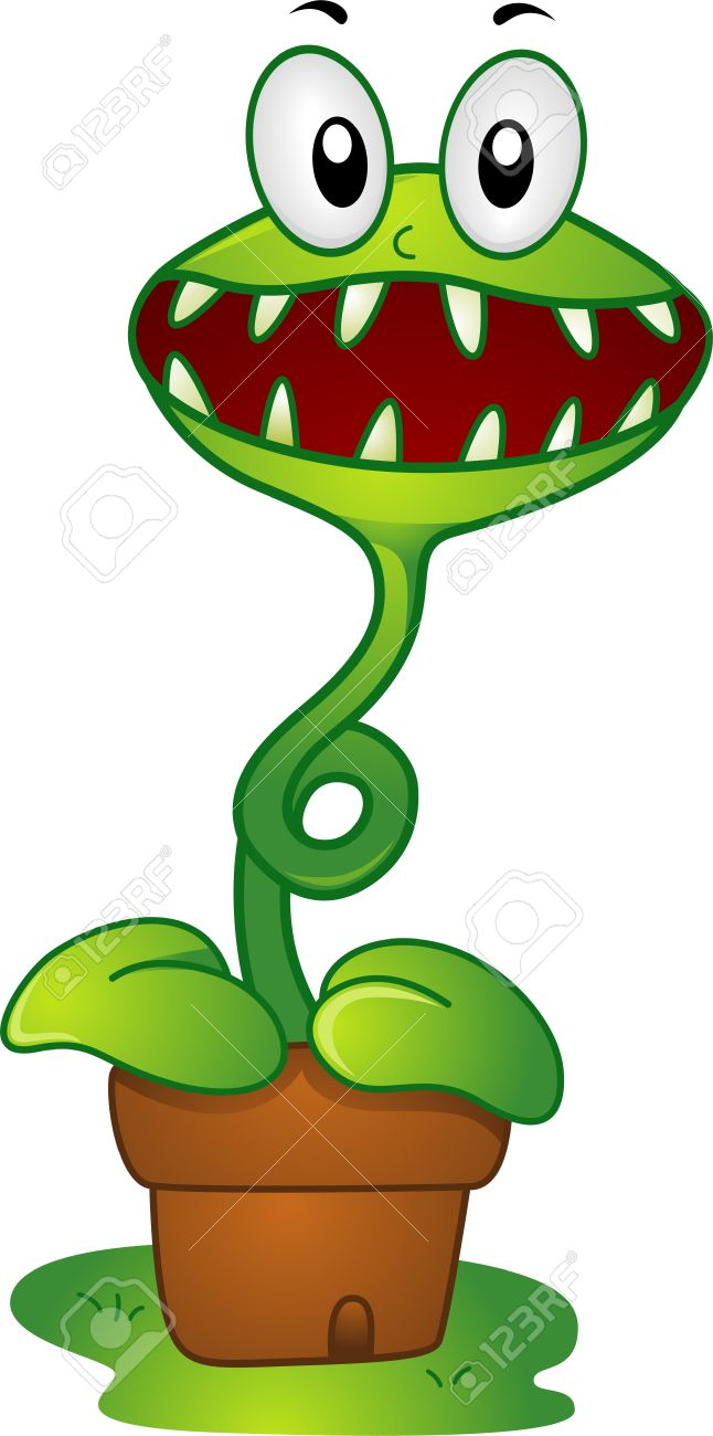 Illustration Of A Mascot Venus Flytrap In A Pot Stock Photo.