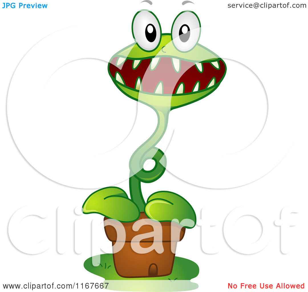 Cartoon of a Venus Fly Trap Mascot.