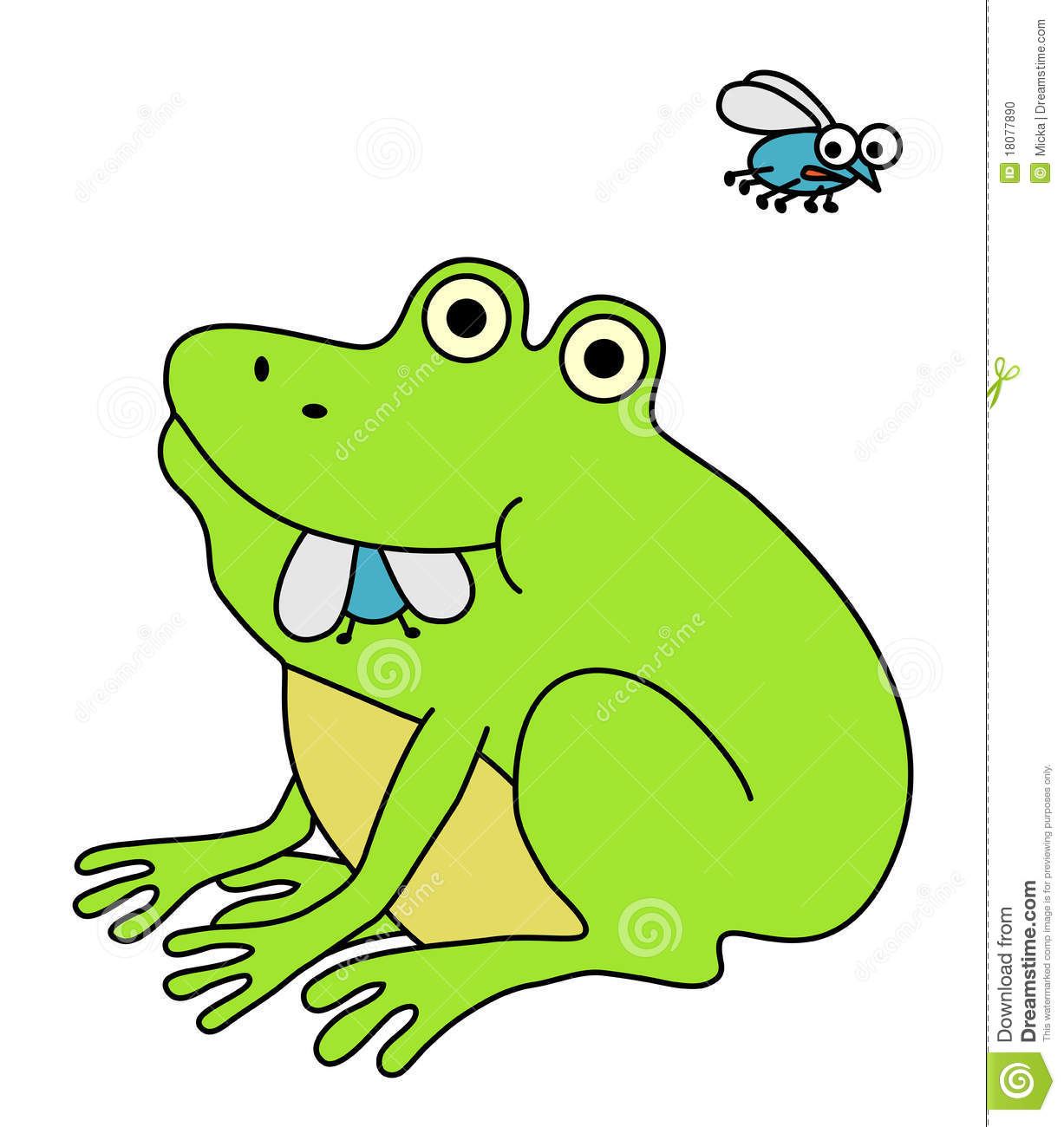 Frog eating clipart.