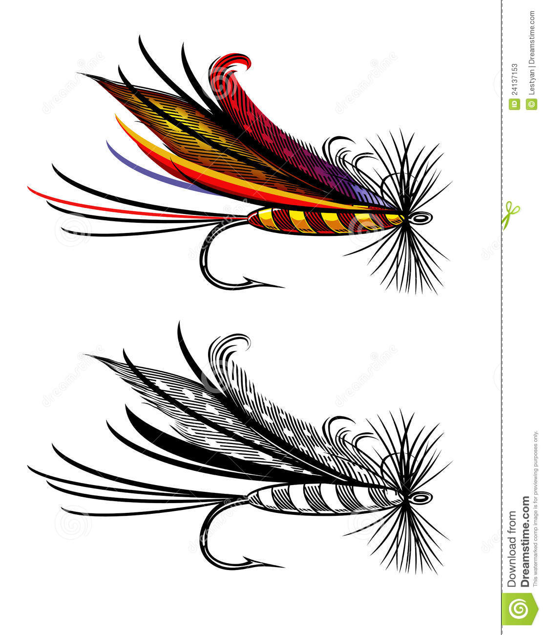Fishing flies clipart.