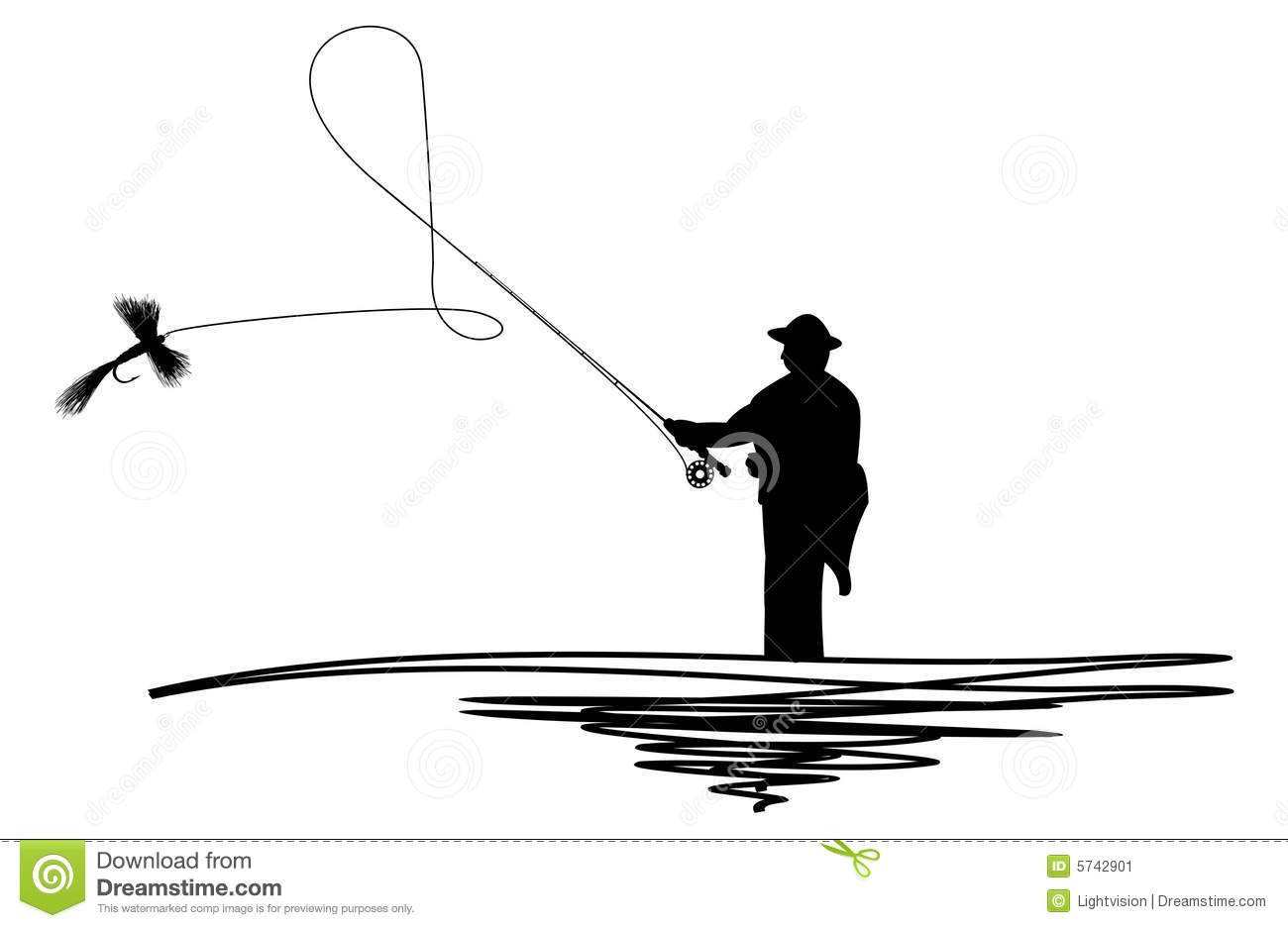 Man Casting Fishing Line Clipart.