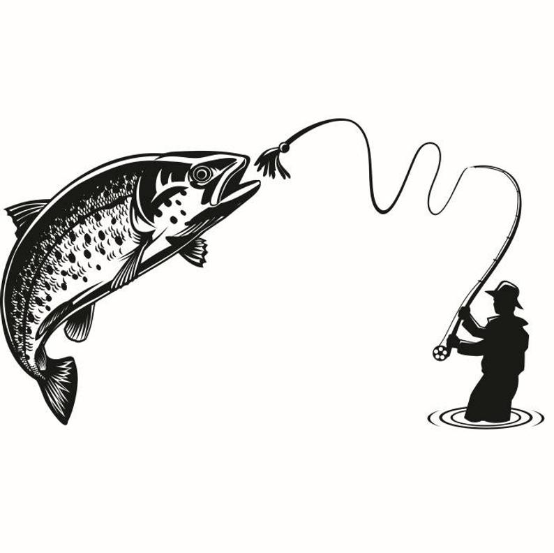 Fly Fishing #1 Fisherman Trout Fish River Lures .SVG .EPS .PNG Instant  Digital Clipart Vector Cricut Cut Cutting Download Printable File.