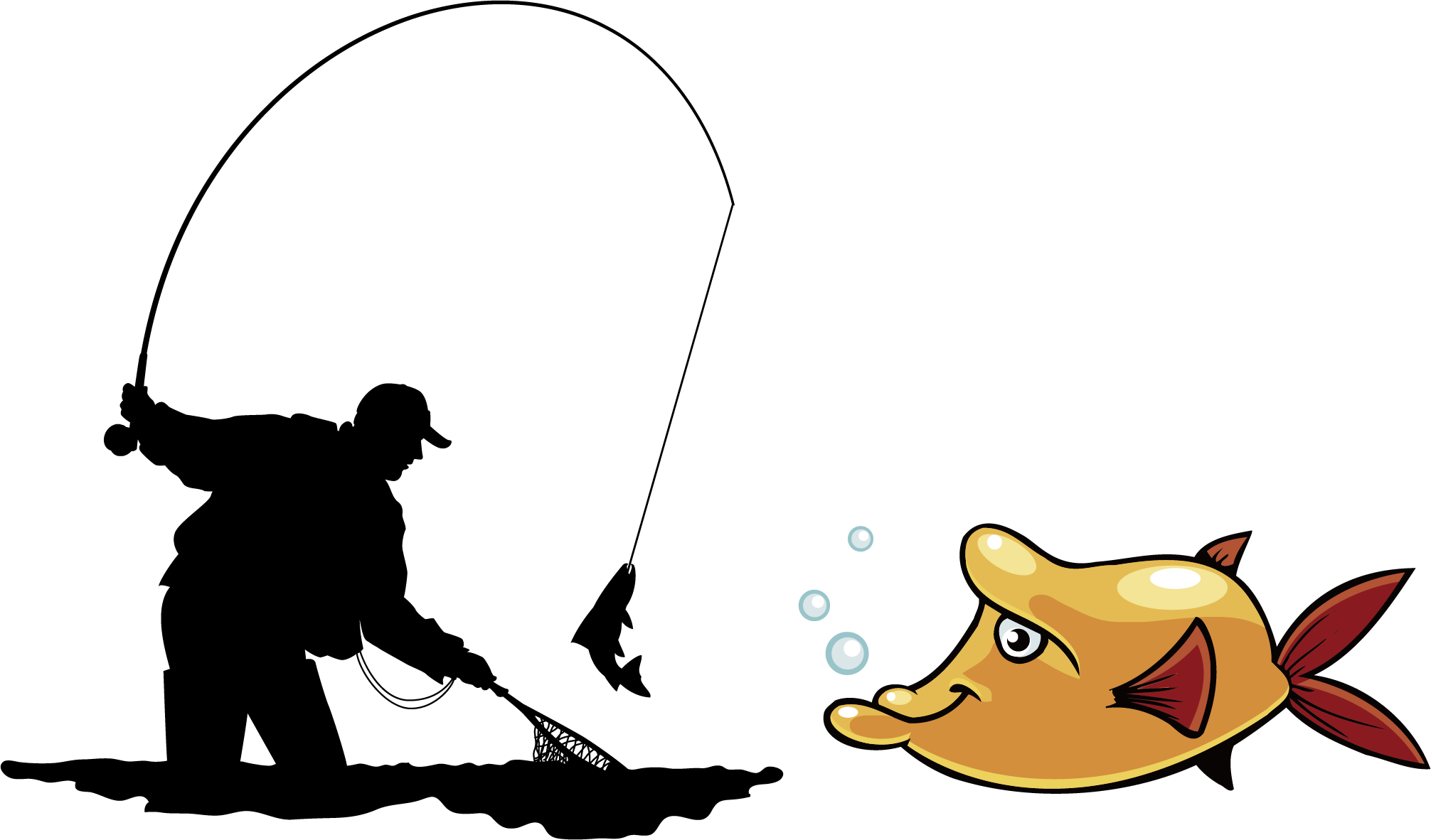 Fly fishing Angling Illustration.
