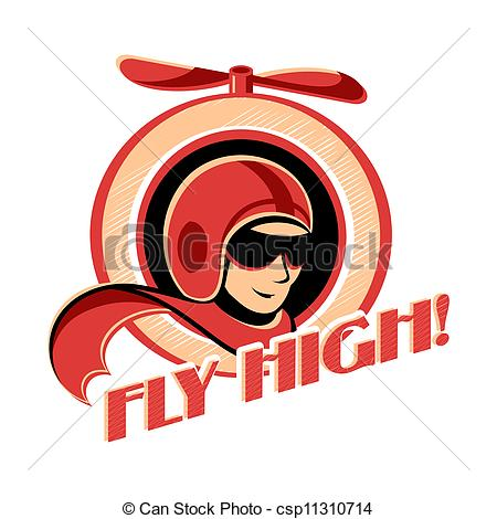 Vector Clip Art of Aviator sticker.