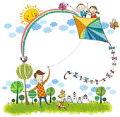 Clip Art of Father flying kite u12169722.