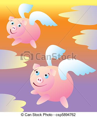 Vector Illustration of When Pigs Fly.