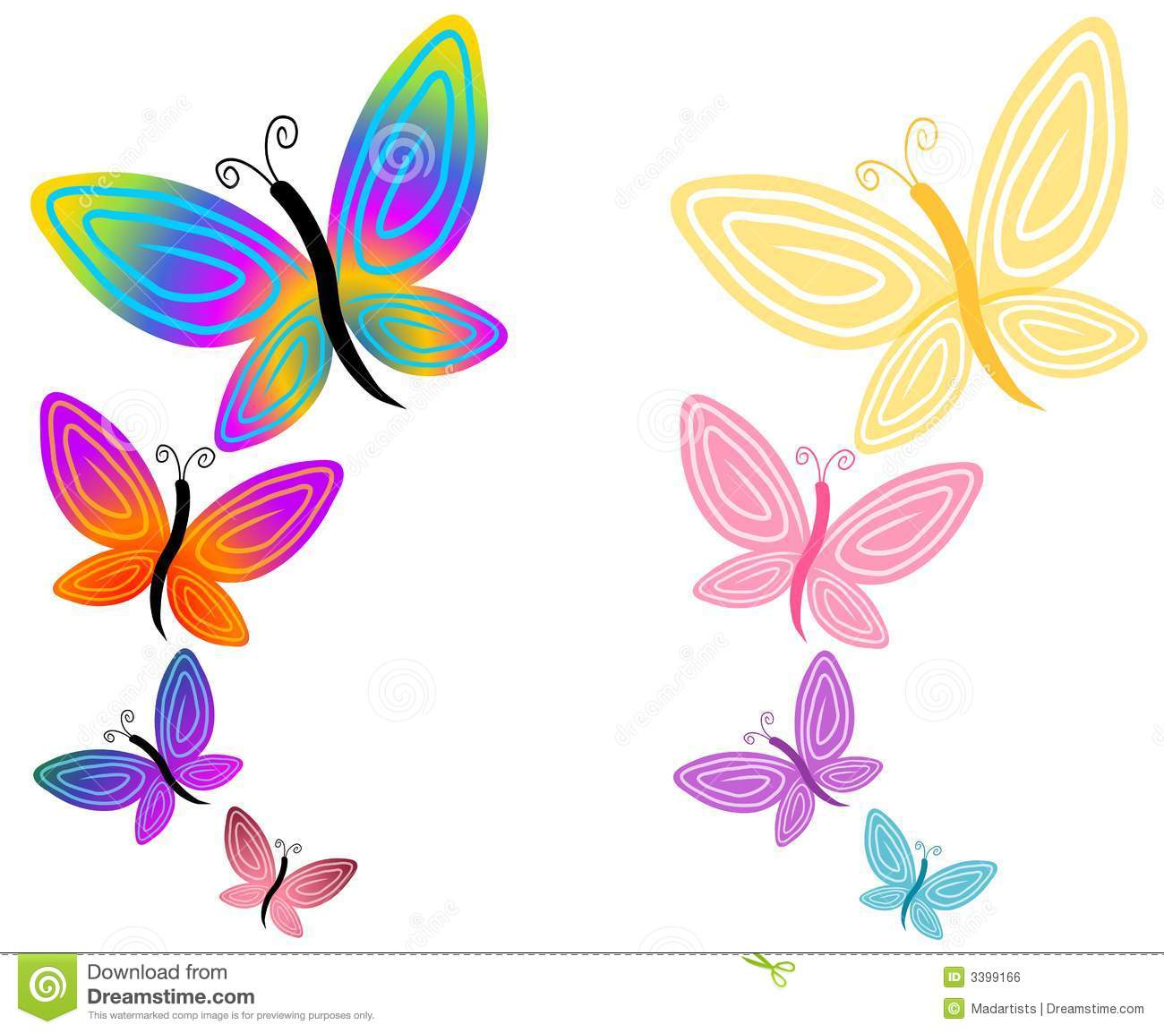 Butterfly Flowers Clip Art 01 Royalty Free Stock Image.