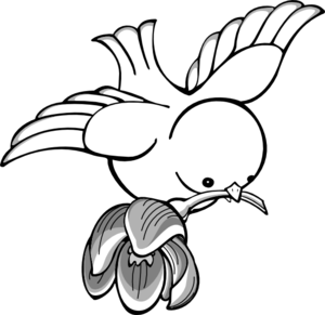Flying bird line art clipart.