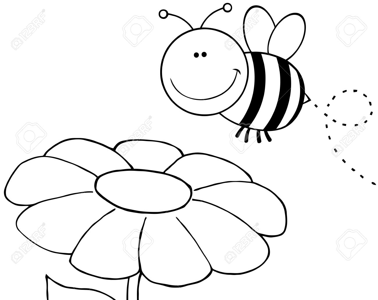 Outlined Bumble Bee Flying Over Flower Royalty Free Cliparts.