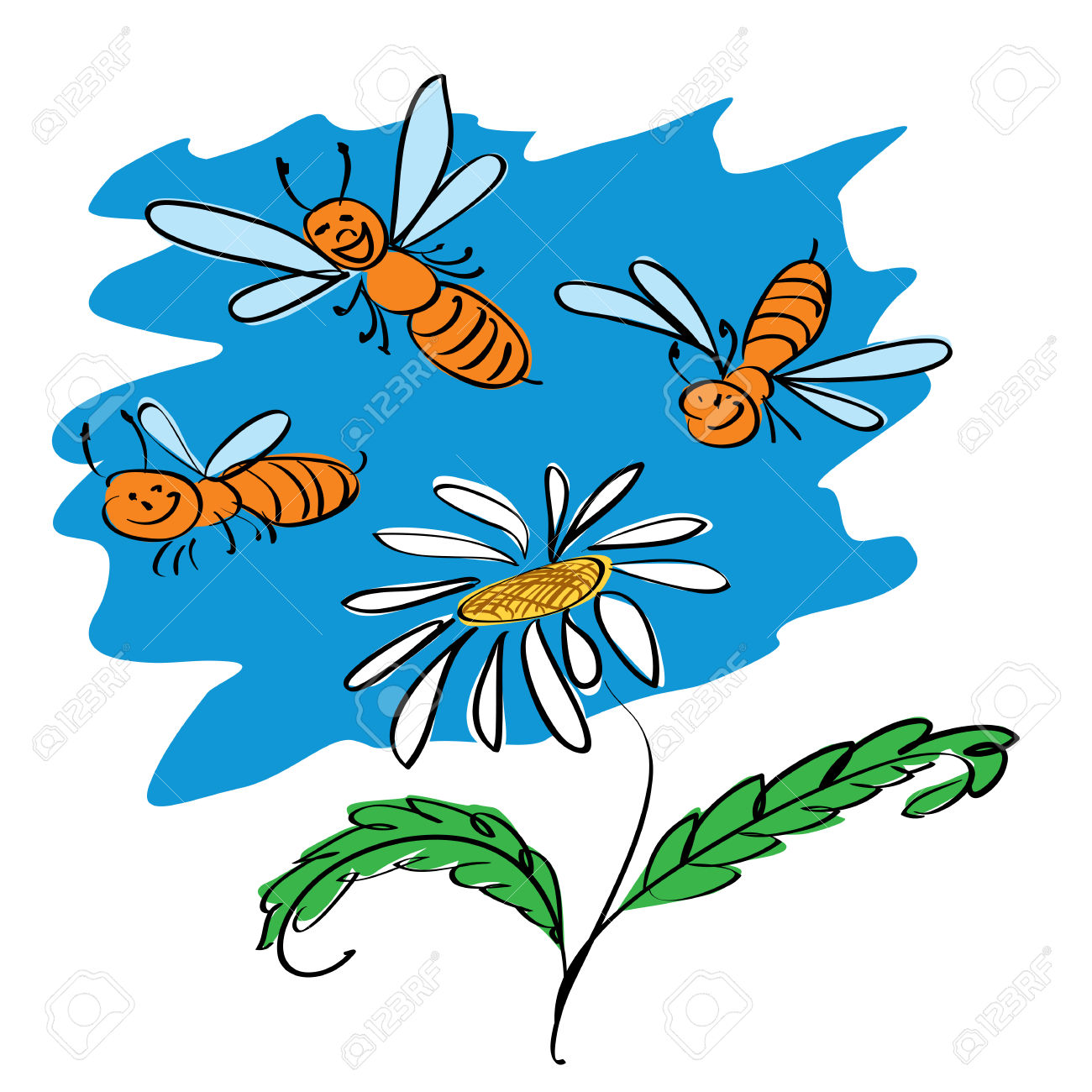 Funny Bees Fly Over Flower Royalty Free Cliparts, Vectors, And.