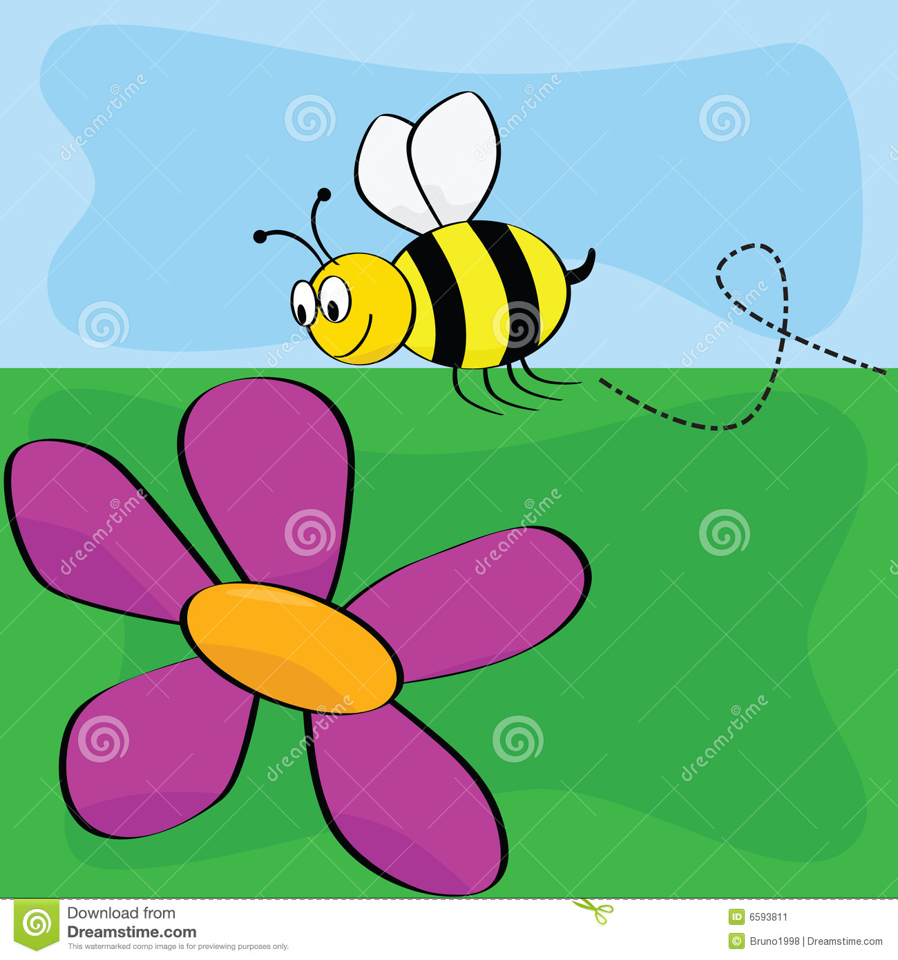 Cartoon Bee Flying Near Flower Stock Image.