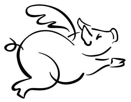 free flying pig clipart.