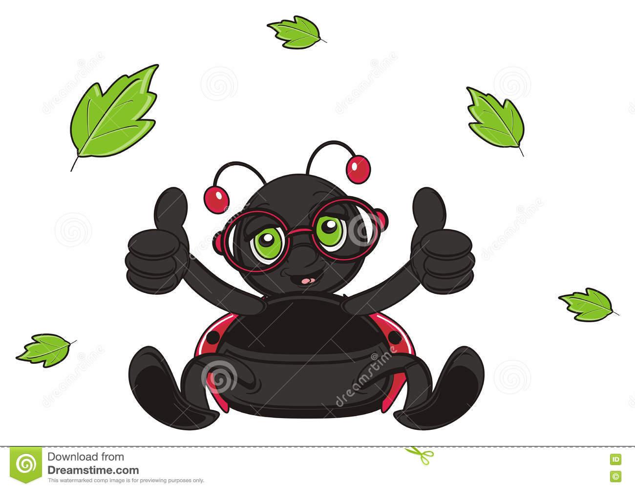Leave Fly Around Of Ladybug Stock Illustration.