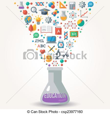 Clip Art Vector of Knowledge Icons fly out from Tube. Concept of.