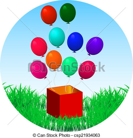 Clip Art Vector of balloons fly out of gift box.